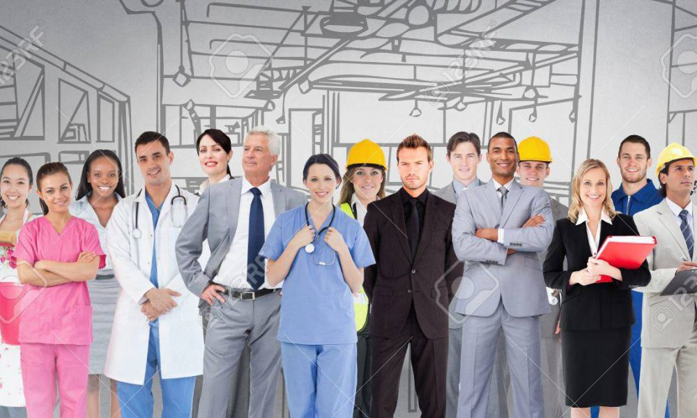 Digital composite of Group of people with different professions standing in front of factory drawing
